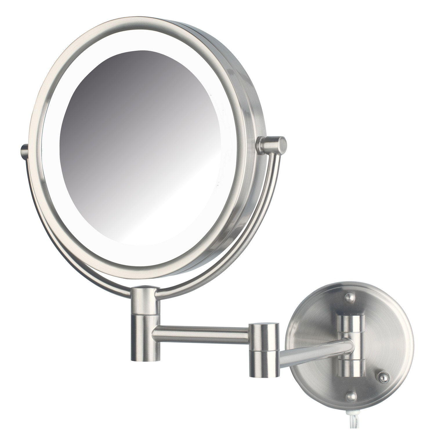 "Jerdon LED Lighted Wall Mount Mirror, 8.5"", Nickel"