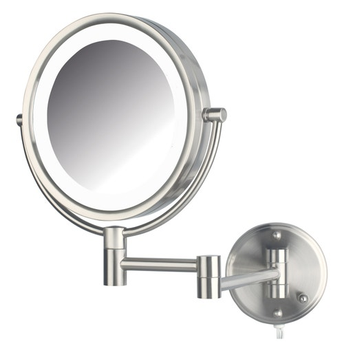 Jerdon Wall Mounted Lighted Mirror 8 5 Nickel