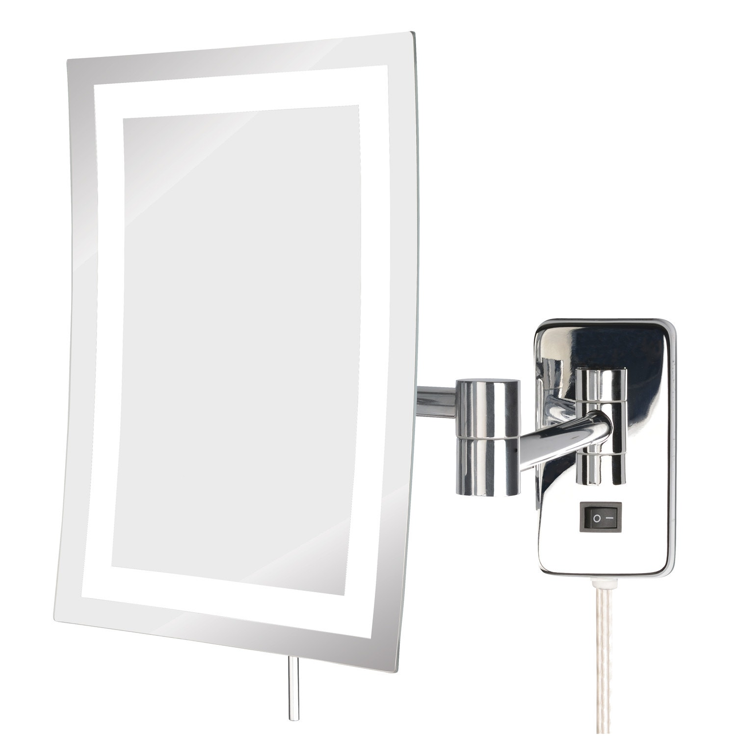 "Jerdon LED Lighted Wall Mount Mirror, 6.5"" x 9"", Chrome"