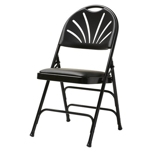 Groovy Steel Bonded Leather Fanback Folding Chair Samsonite 3000 Series Commercial Grade Black Black With Memory Foam Pabps2019 Chair Design Images Pabps2019Com