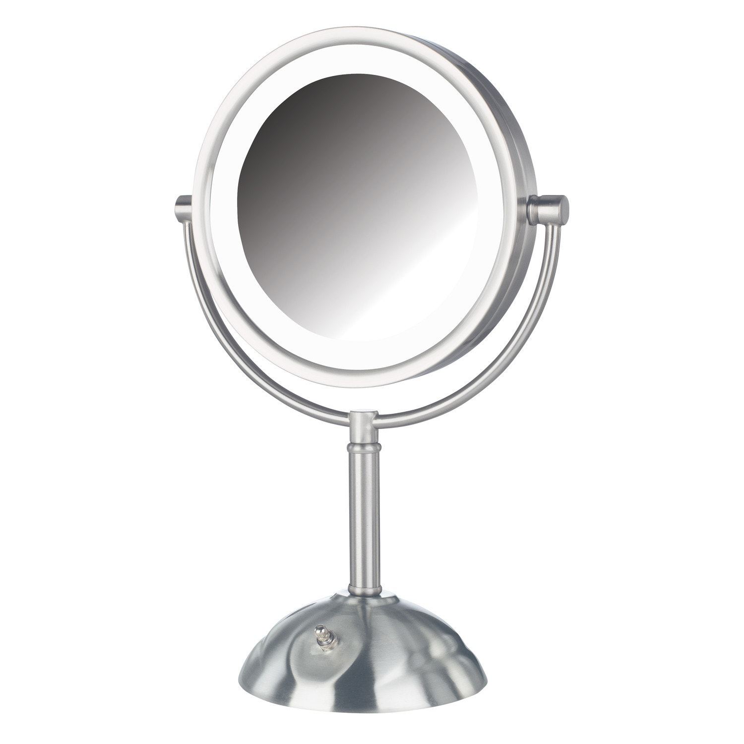 "Jerdon LED Lighted Table Top Mirror, 8.5"" Dia., Nickel"