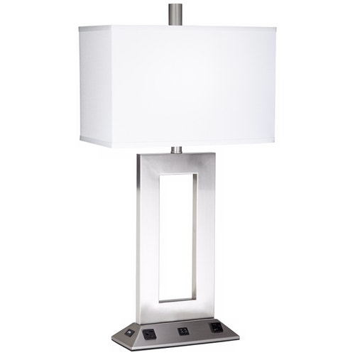 Lamps Plus Hospitality Hudson Double Table Lamp Brushed Nickel