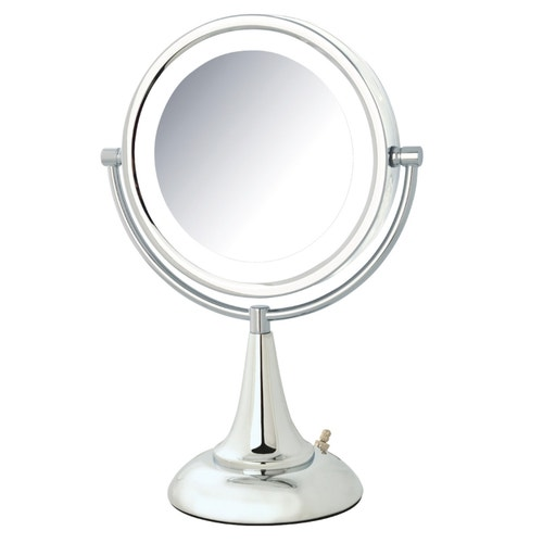 306c19c51035 Jerdon Table Top Lighted Vanity Mirror, 8x Magnification, Nickel, 8.5