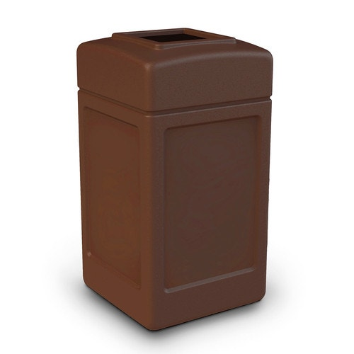 Trash Receptacle, Commercial Zone Products, PolyTec, 42Gal, Brown, Open  Top, Snap Fit Lid