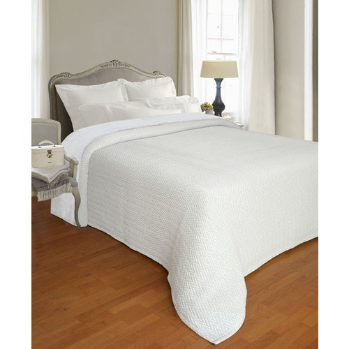 Bargoose Herringbone Jacquard 51 Polypropylene 32 Cotton 17 Polyester Bedspread White King 120 X 116