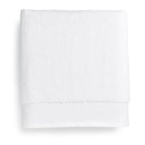 Tesino Luxury Bath Linens Dobby Border Bath Towel 27 X 54 White