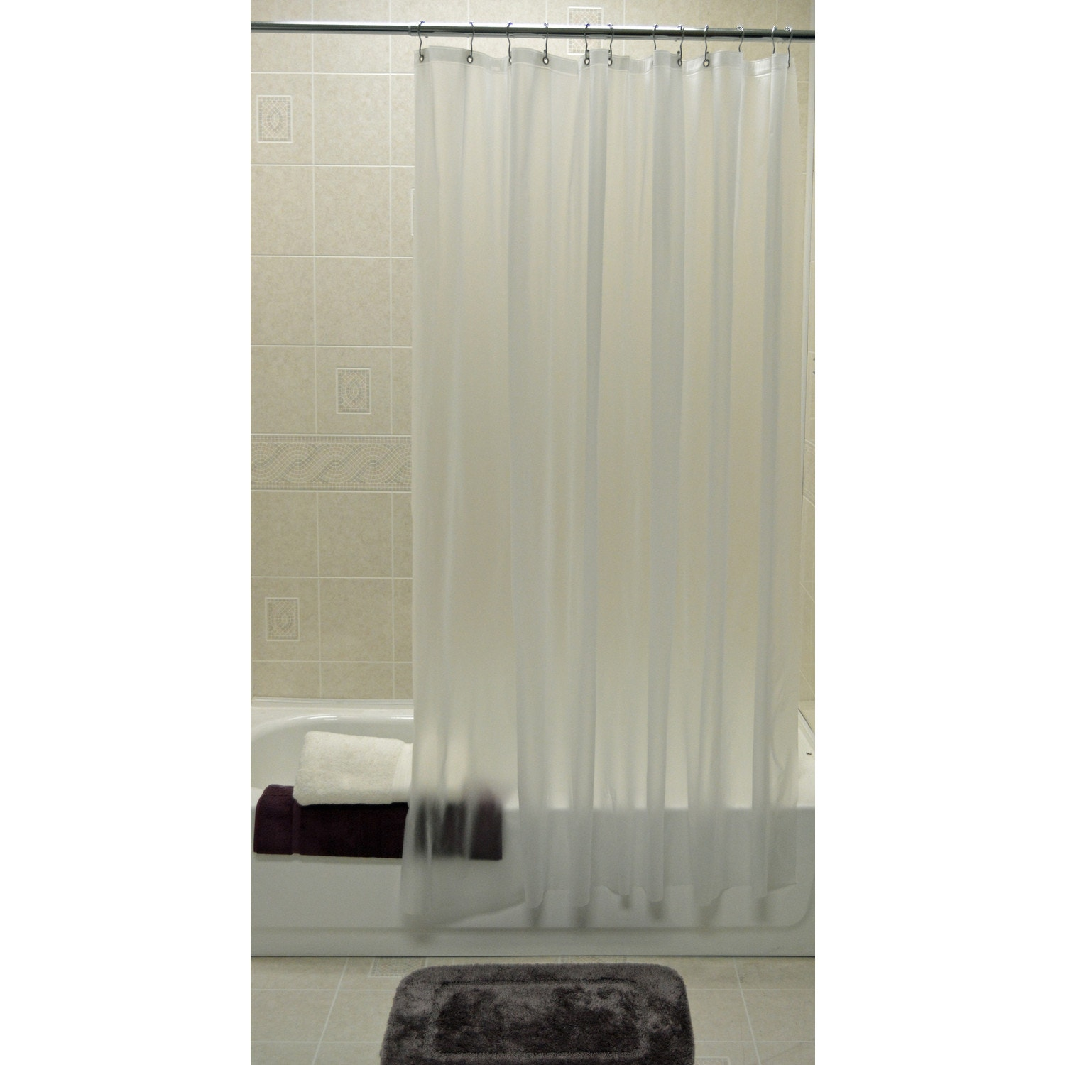 Picture of: Shower Curtain Liner 72 X 72 Frost Clear Hooked Vinyl Nylon Shower Curtains Shower Curtains Bed And Bath Linens Open Catalog American Hotel Site