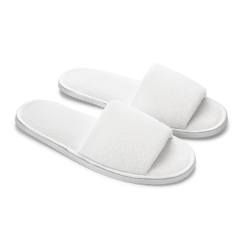 white slippers open toe