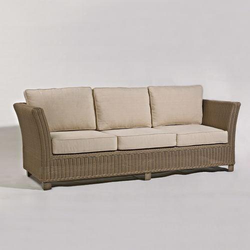 Parker James Alyssa Wicker Sofa 33 D X 90 5 W 29 H Arbor Pebble Cushion Weathered Frame