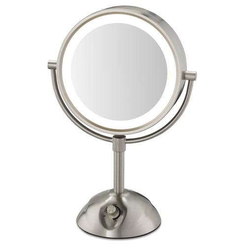 Lighted Vanity Mirror.Conair Lighted Vanity Mirror 8 5 Dia Satin Nickel