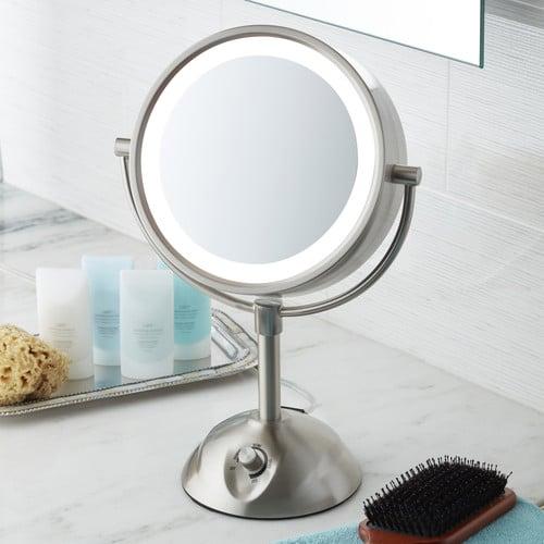 Lighted Makeup Mirror.Conair Lighted Vanity Mirror 8 5 Dia Satin Nickel