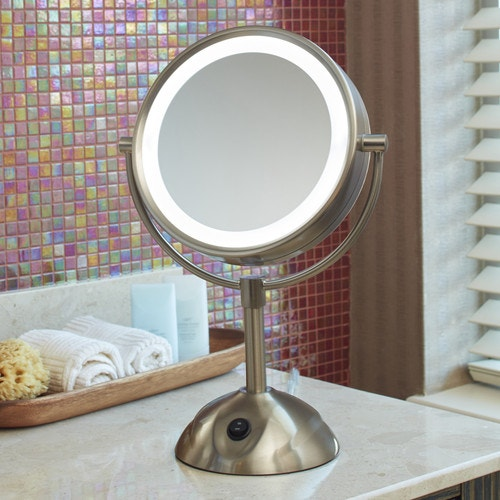 Lighted Vanity Mirror.Conair Lighted Vanity Mirror 8 5 Dia Nickel