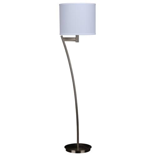 Ashley Lighting Floor Lamp Brushed Nickel White Linen Hardback Shade 58 8 H