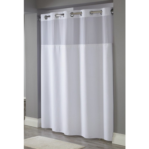 Hookless Waffle Weave Windowed Shower Curtain White 71 X 77