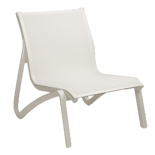 Grosfillex Sunset Outdoor Lounge Chair White Sling Glacial Frame Chairs Furniture And Fitness Fixtures
