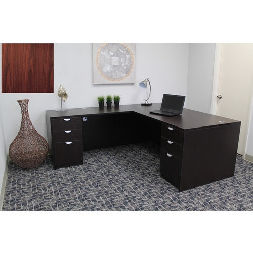Boss Office Products L-Shaped Desk Set, Mahogany