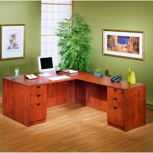 sports shoes 6eadf 934d1 Boss Office Products L-Shaped Desk Set, Cherry
