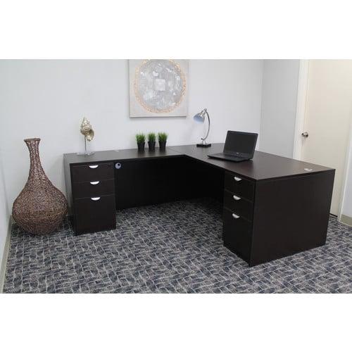 Swell Boss Office Products L Shaped Desk Set Mocha Download Free Architecture Designs Intelgarnamadebymaigaardcom