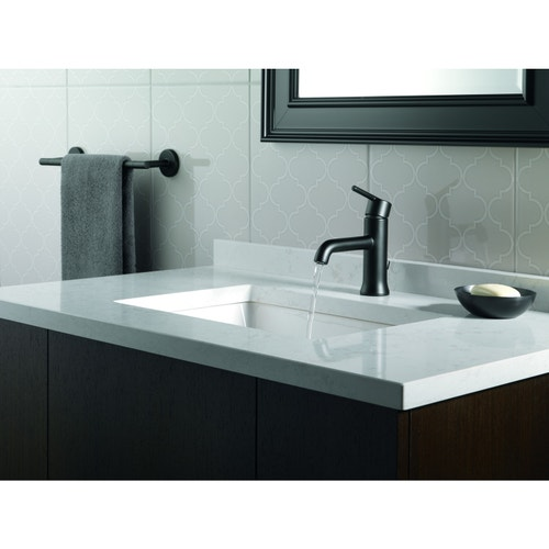 Delta Trinsic Single Handle Bathroom Faucet, 1 or 3 Hole Installation,  Diamond Valve, Matte Black
