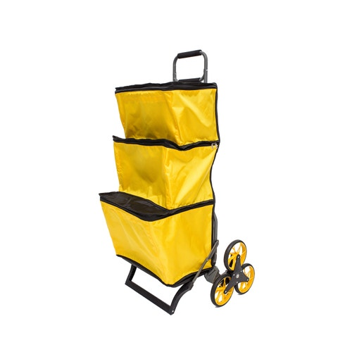UpCart Stair Climbing Folding Shopping Cart with Three Zippered Compartments