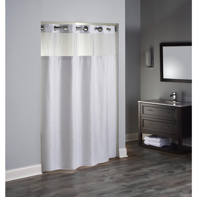 Hookless Geo Shower Curtain 71 X 77 White