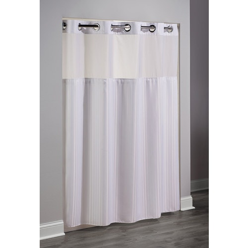 Ordinaire Hookless Double H Chevron Shower Curtain, 71x77, White   Hookfree Polyester Shower  Curtains   Shower Curtains   Bed And Bath Linens   Open Catalog ...