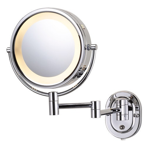 Jerdon Wall Mounted Lighted Vanity Mirror 5x Magnification Chrome