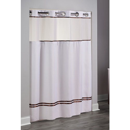 Hookless Escape Striped Shower Curtain 71x74 Whitebrown