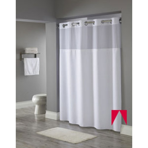Hookless Brand Shower Curtain.Hookless Reflections White Shower Curtain 71 X 77
