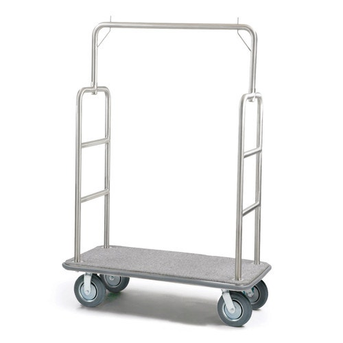 Registry Bellman's Luggage Cart, Brushed Stainless Steel, Gray  Carpet/Bumper, 8\