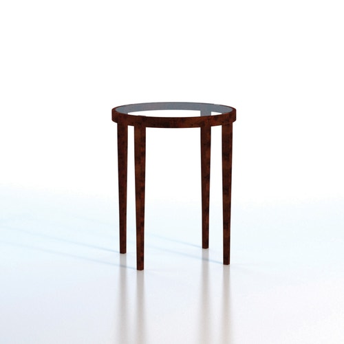 Side Table Textured Copper Finish Inset Gl 18 Inch Dia X 22 H