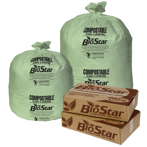 BioStar Low Density Compostable Can Liner, 60 Gal , 38