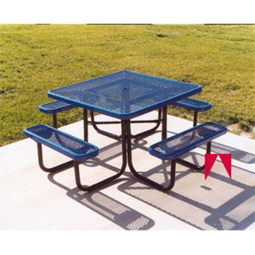 Fantastic Picnic Table Thermoplastic Coated With Benches 46 Inch Square Bralicious Painted Fabric Chair Ideas Braliciousco