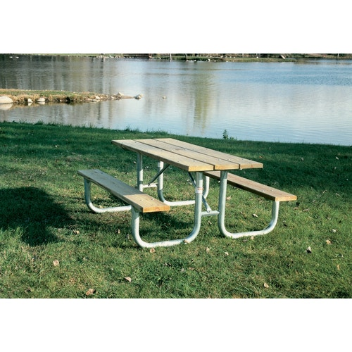 Pleasing Picnic Tables Rock Steady W Attached Benches 8 Enamel W 1 5 8 Dia Tubing Ibusinesslaw Wood Chair Design Ideas Ibusinesslaworg