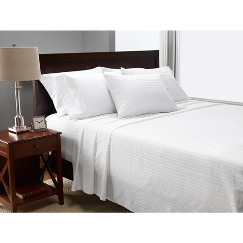 1888 Mills Lotus 250 Thread Count Satin Stripe 60 Egyptian Cotton 40 Polyester Ed Sheet White Twin Xl Sheets Bed And Bath Linens
