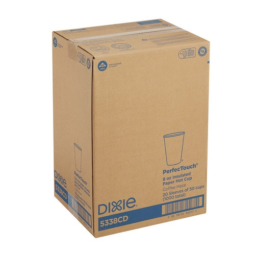 Dixie PerfecTouch Insulated Paper Hot Cup, Unwrapped, 8 Oz