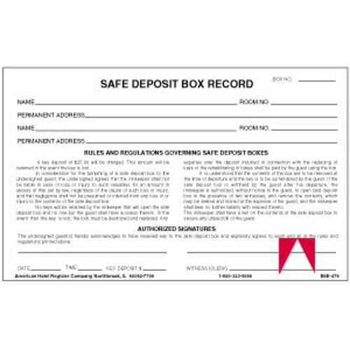 deposit form hotel  Registry Safe Deposit Box Record Card