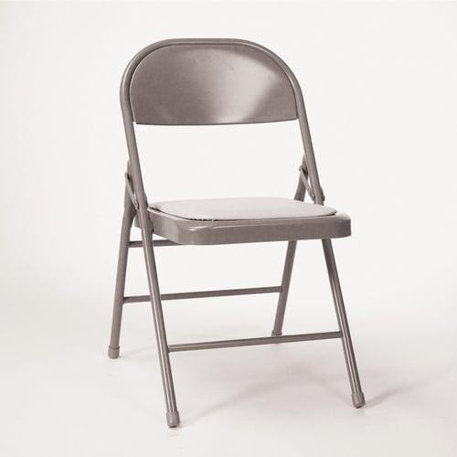 Surprising Folding Chair Krueger Upholstered 30 25 Inch H X 18 25 Inch W X 19 5 Inch D Tan Vinyl Gray Creativecarmelina Interior Chair Design Creativecarmelinacom